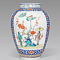 A large kakiemon vase with ladies and parasols, edo period, late 17th century