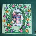 Carte pupitre balançoire : les aras en cage