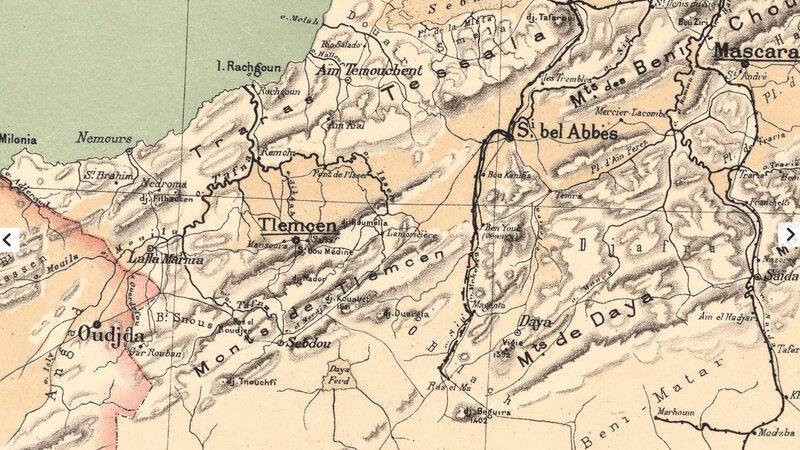 Algérie, carte Niox, 1884, Aïn Temouchent, Tlemcen, Sebdou, Daya, Sidi bel Abbès