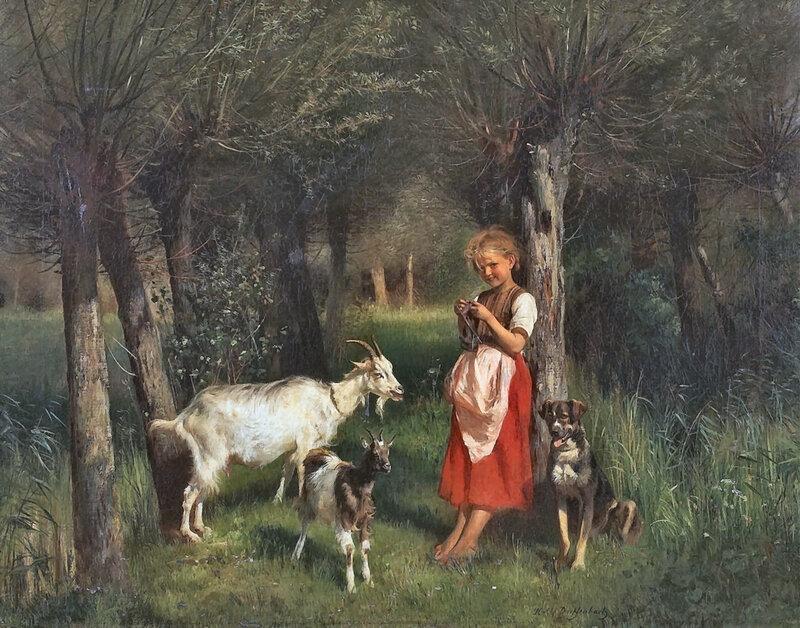 Anton Heinrich Dieffenbach Strickendes Mädchen mit zwei Ziegen und ihrem Hund