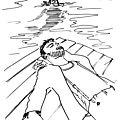 Sirène derrière un homme endormi - mermaid behind a sleeping man - la seraine, extrait du bestiaire d'amour de fournival
