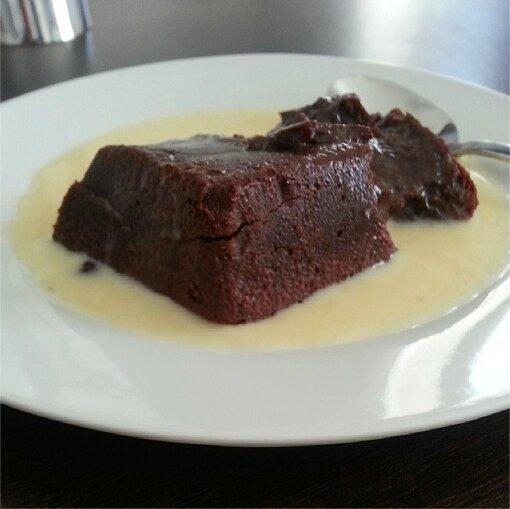 Le fondant au chocolat et à la crème anglaise de Lepouletfou