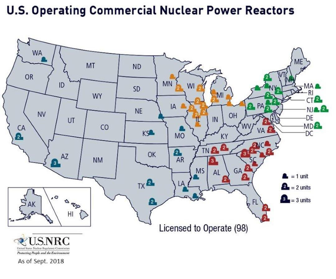 energie-usa-Commercial nuclear power plants in the U