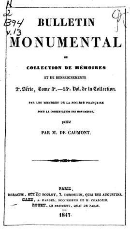Bulletin monumental page de garde