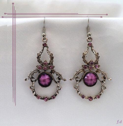 Boucles d'oreilles Style Tibétain Tshering Perle Et Strass Violet Argent du Tibet