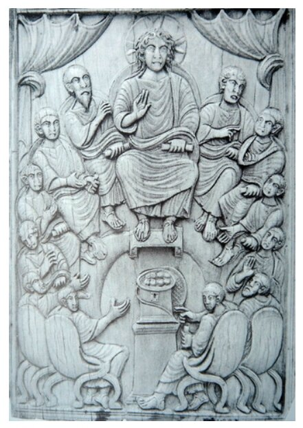 Christ avec les 12 apôtres, ivoire sculpté du 6e s ( Italie)