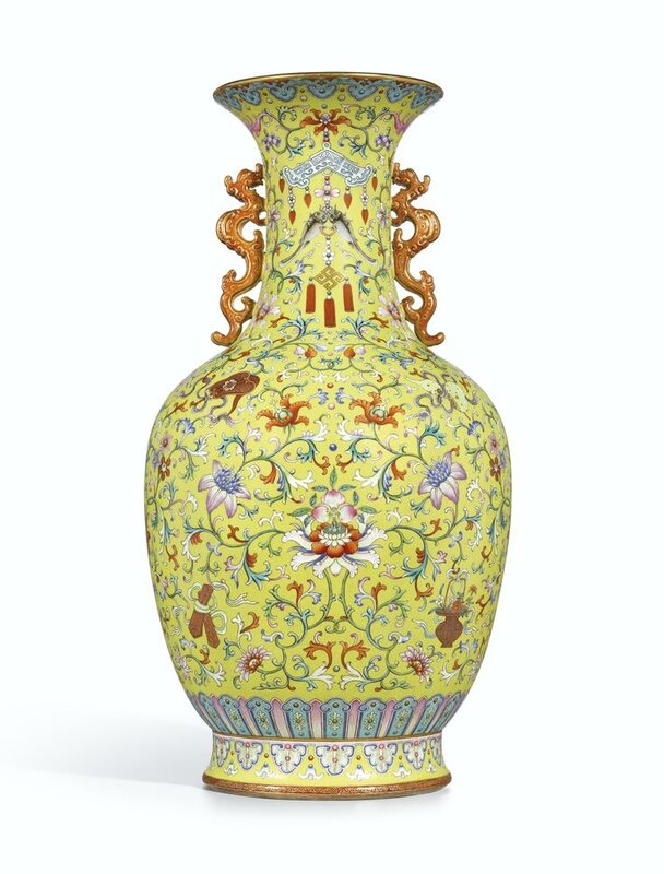 A magnificent and monumental yellow-ground famille-rose 'Anbaxian' sgraffiato vase with dragon handles, seal mark and period of Qianlong (verso)