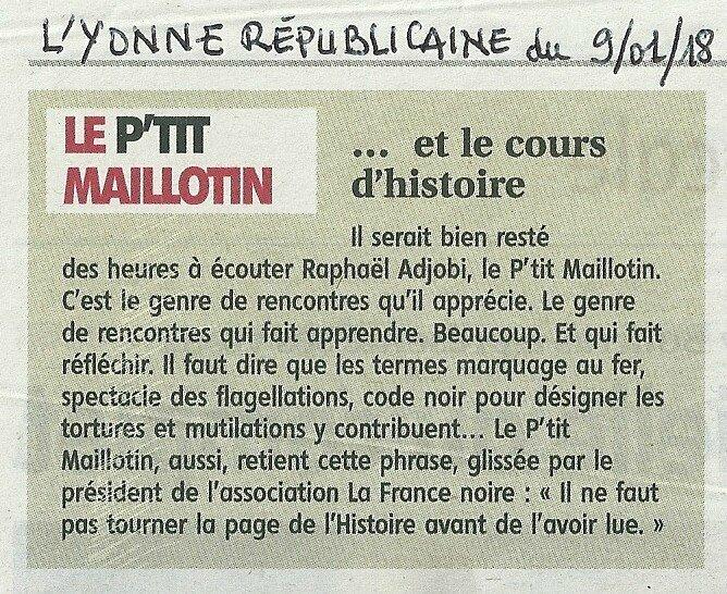 Le P'tit Maillotin et le cours d'histoire