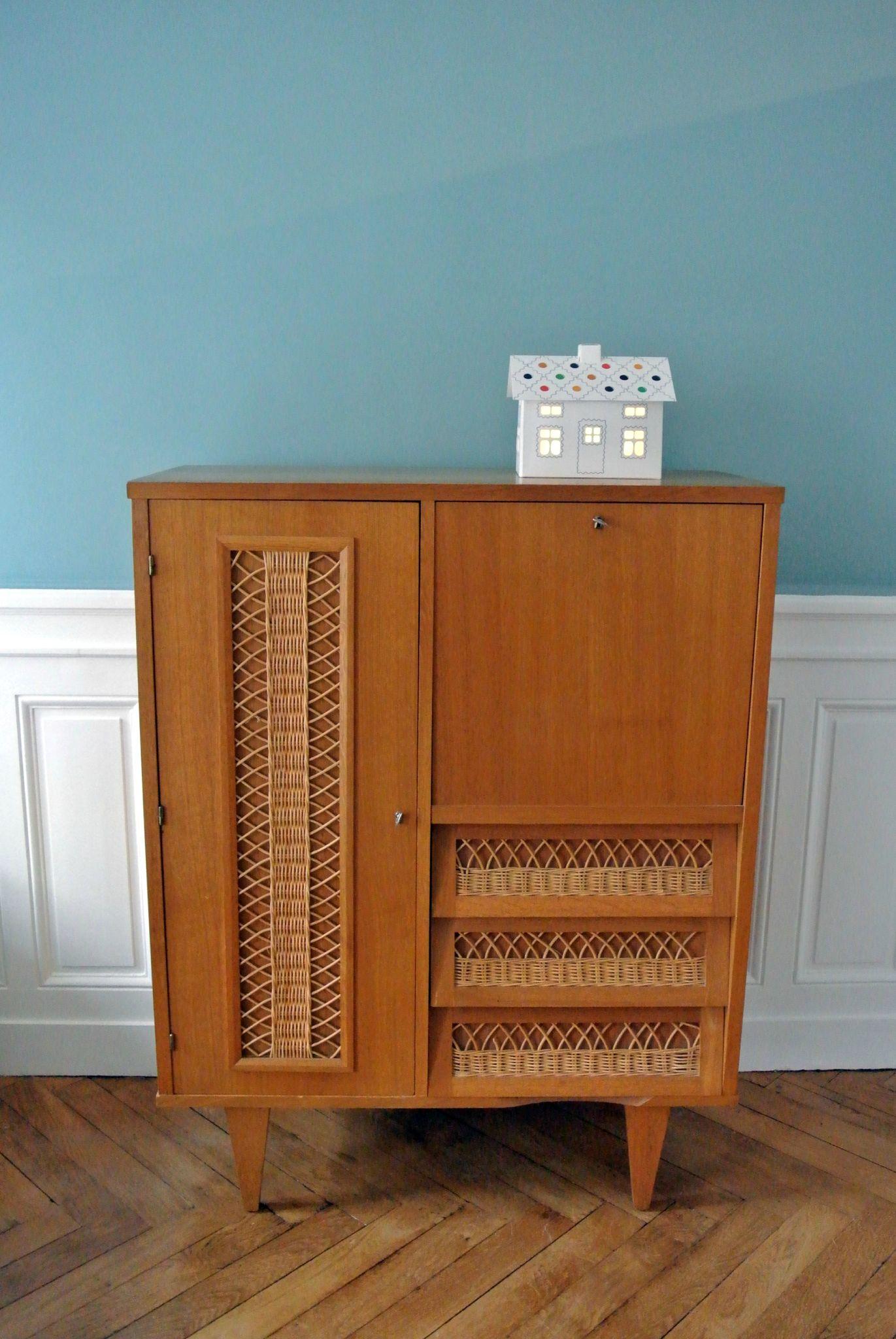 armoire secrétaire rotin 1