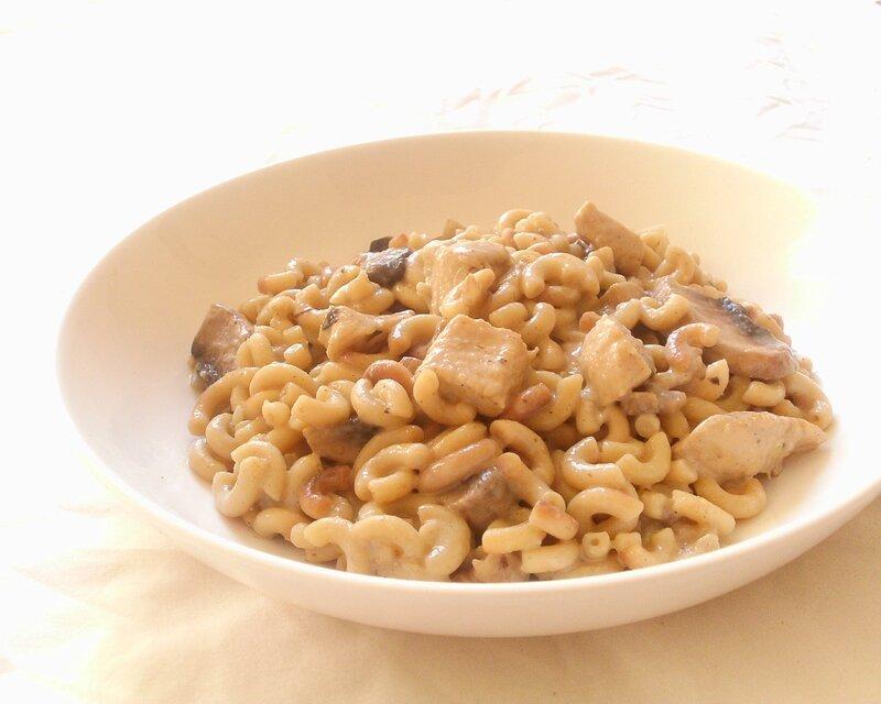 recette de risotto de coquillettes au poulet et au champignon2
