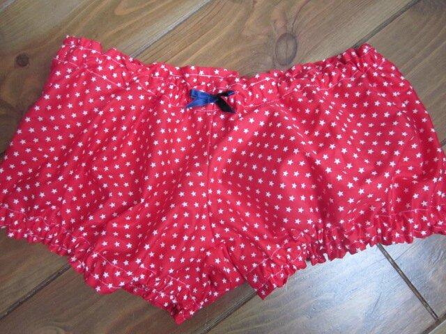 Culotte BIANCA en coton rouge étoilé de blanc - noeud gros-grain marine (2)