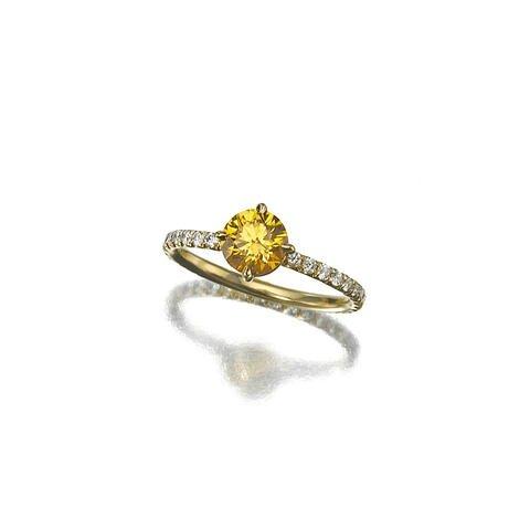 A fancy colored diamond and diamond ring, Golkonda2