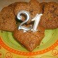 Petits gâteaux en forme de coeur au chocolat