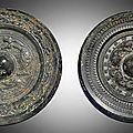 Two bronze circular mirrors, Three Kingdoms period (220-280)