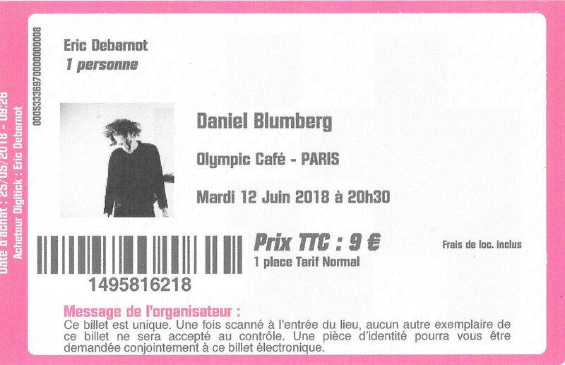 2018 06 12 Daniel Blumberg Olympic Café Billet