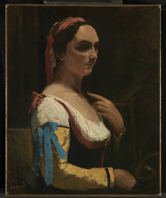 Jean-Baptiste-Camille Corot, 'Italian Woman, or Woman with Yellow Sleeve (L'Italienne)', about 1870