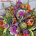 Bouquet rond Chou mauve, Callicarpa et Mûres