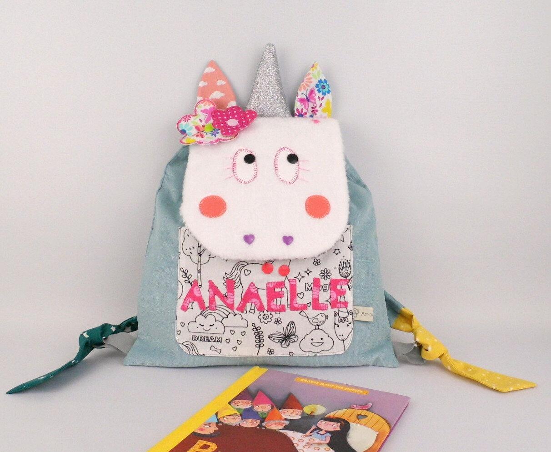 Sac à dos maternelle licorne personnalisé prénom Anaëlle sac fille personnalisable crèche nounou première rentrée des classes
