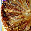 Tatin aux endives caramélisée, jambon cru et beaufort