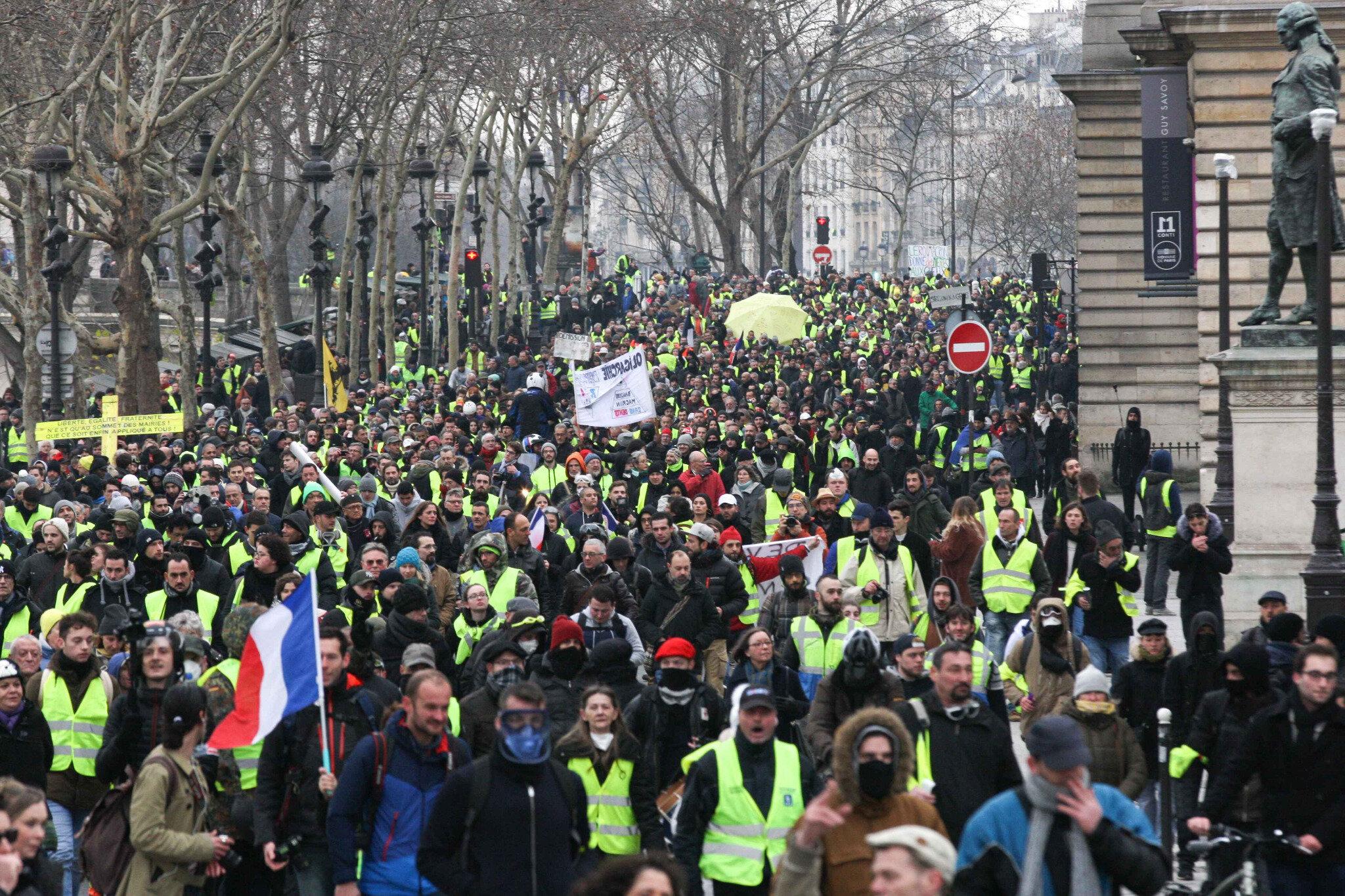 Crise des gilets jaunes : un acte 8 émaillé de heurts à Paris. © Michel Stoupak. Sam 05.01.2019, 14h31m12.