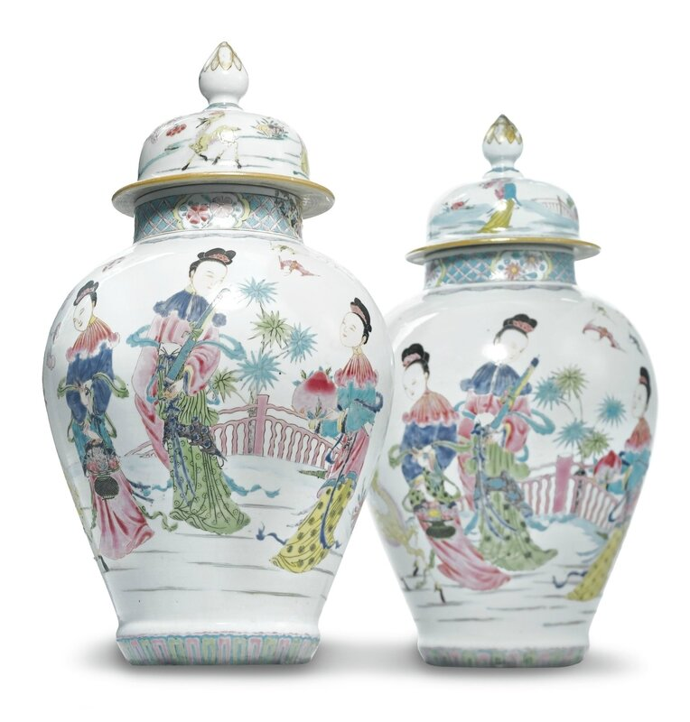 A pair of Chinese export porcelain famille-rose baluster jars and covers, Yongzheng period, circa 1730