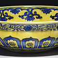 An unusual yellow-ground blue and white mantou bowl, 17th-18th century