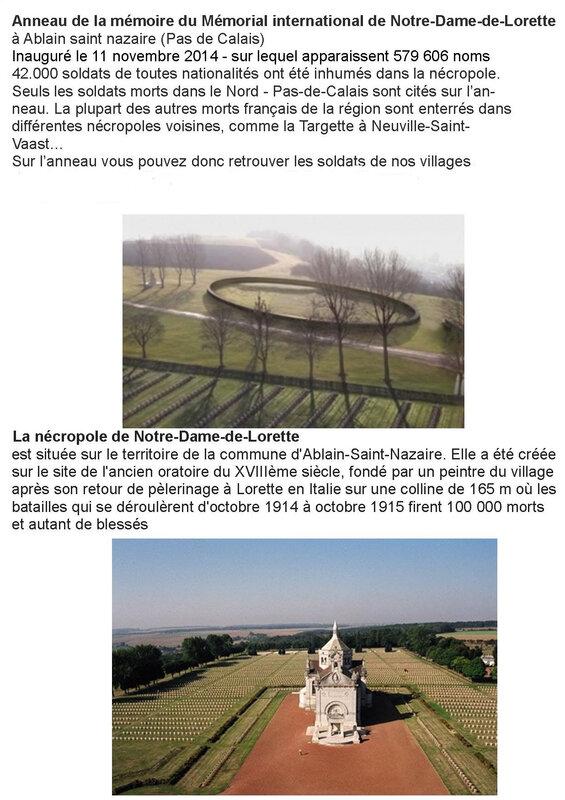 anneau de Mémoire Notre Dame de Lorette