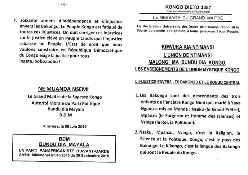 L'INJUSTICE ENVERS LES BAKONGO ET LE KONGO CENTRAL a