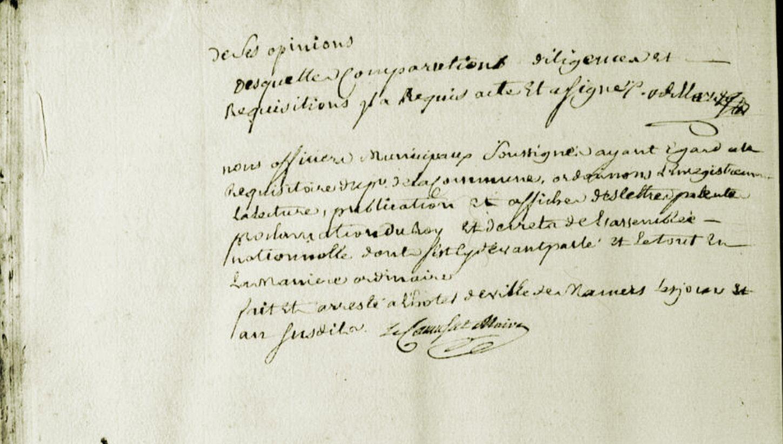 Le 16 juin 1790 à Mamers : enregistrement de lois.