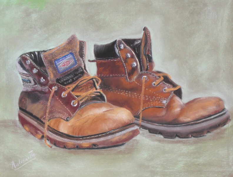 Chaussures de marche - pastelcard 30 x 40 cm
