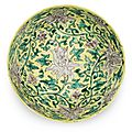A fine yellow and green-enamelled lotus bowl, Jiajing six-character mark and of the period (1522-1566)