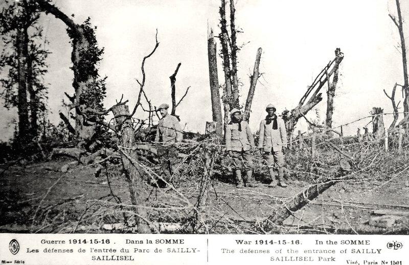 Sailly-Saillisel, 1914-15-16, rdéfenses de l'entrée du parc