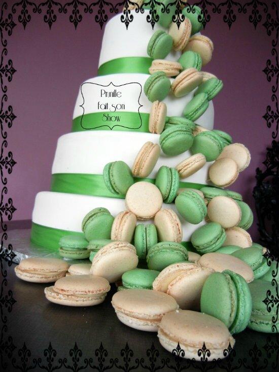 gateau de mariage et macarons wedding cake prunille fait son show