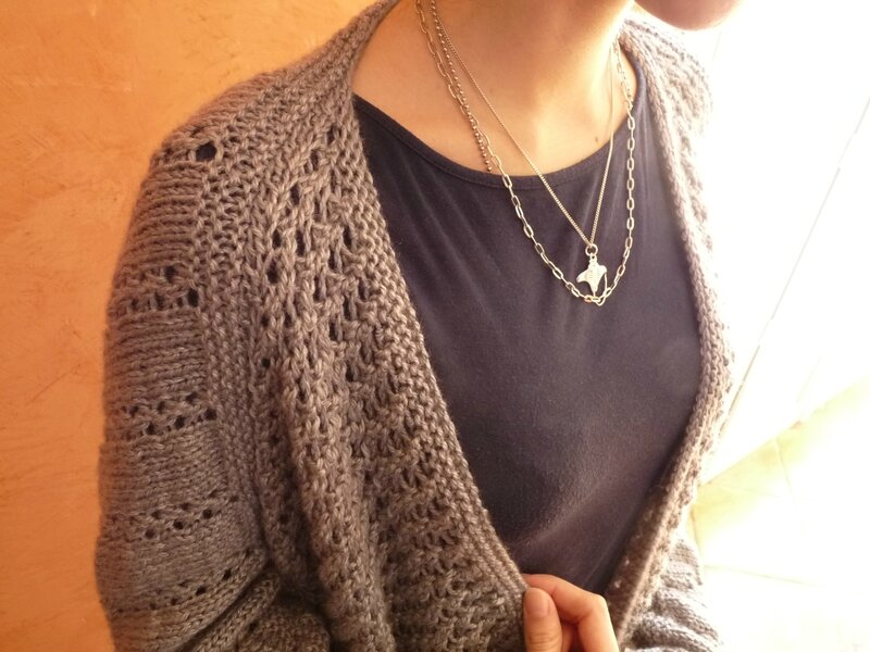 Veste tricot drops - côtes de mailles