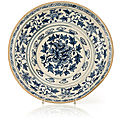 A blue and white deep flower plate, vietnam, 15th-16th century