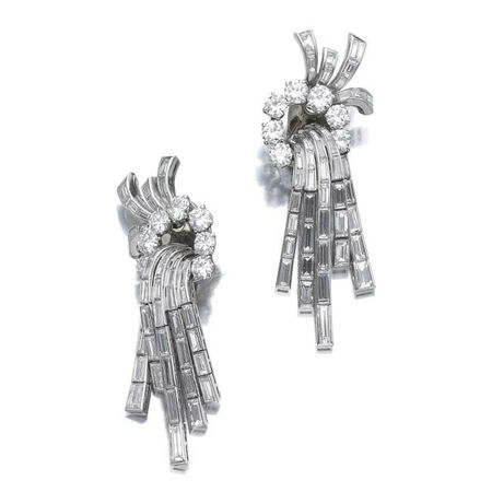 Pair of diamond ear clips, Van Cleef & Arpels