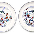 A pair of doucai 'magpie' dishes, kangxi marks and period (1662-1722)