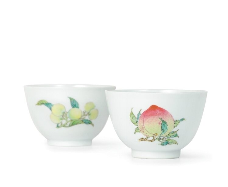 A fine and exquisite pair of 'famille-rose' 'sanduo' cups, Yongzheng marks and period (1723-1735)