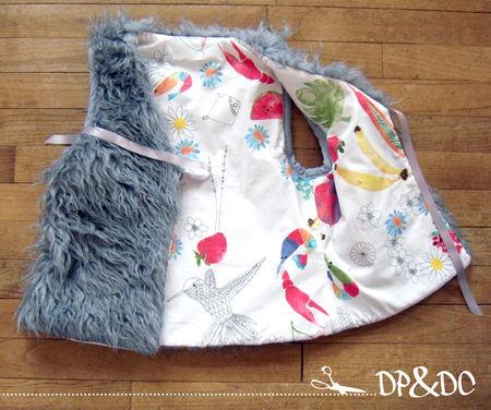 des plumes et des chas_desplumetdeschas_ creations textiles_ piece unique_couture_gilet moumoute