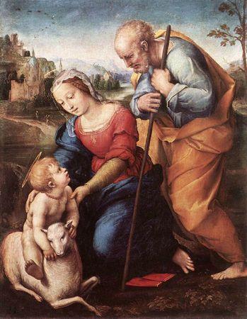 Raphael La sainte Famille a l'agneau 1507