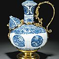 A blue and white kendi, ming dynasty, wanli period, with german silver-gilt mounts, augsburg or nuremberg, early 17th century