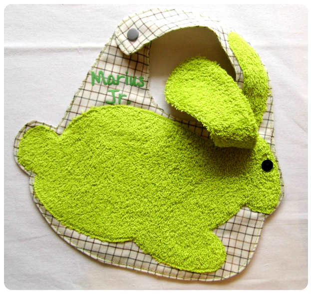 Bavoir lapin vert Janv 2015