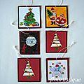 Etiquettes cadeaux de Noël - sapins et Pères Noël