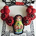 ♥ yvana ♥ collier plastron matriochka poupée russe - les yoyos de calie