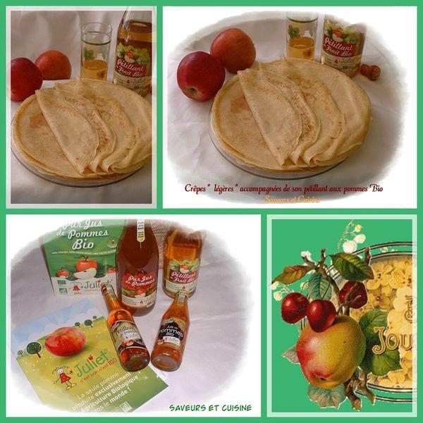 Crêpes légères et son pétillant aux pommes bio