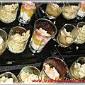 Trio de verrines: St Jacques/Poireaux/Parmesan, Foie gras/poires