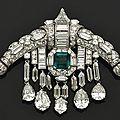 Sarpech art deco émeraude et diamants, vers 1920