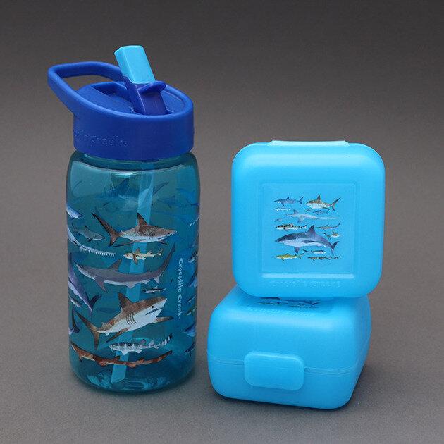 Nouveau : Lot 2 boîtes + gourde sans BPA Les requins Crocodile Creek