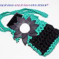 mini bag en crochet green flower for smartphone d