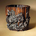 A rare chenxiangmu brush pot carved with prunus, late ming dynasty, 17th century